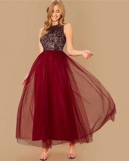 Sequin Bodice Glamorous Prom Party Maxi Dress