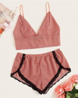 Sexy Bralette With Lace Shorts Lingerie Set