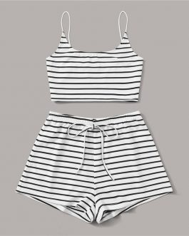 Sexy Cami Top + Tie Waist Shorts Two Piece Sets