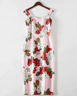 Sexy Elegant Flower Print Spaghetti Strap Dresses