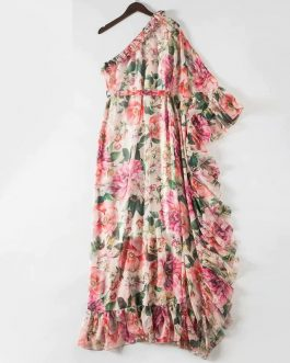 Sexy Off Shoulder Cascading Ruffle Chiffon Maxi Dress