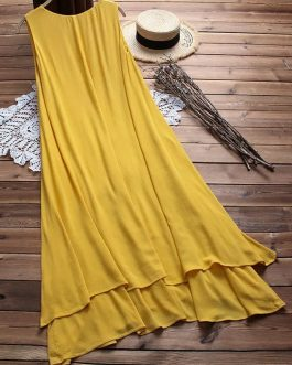 Sleeveless A-line Layered Maxi Dress