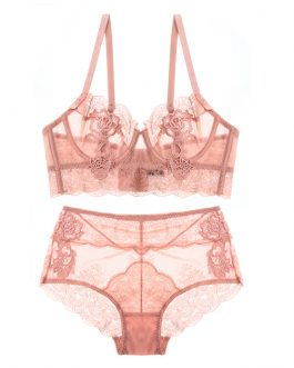 Slim push-up adjusting flower lace bra set