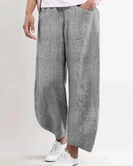 Solid Color Elastic Waist Cotton Casual Pants