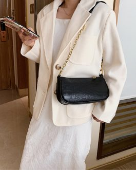 Solid Crocodile Pattern Shoulder Crossbody Bag