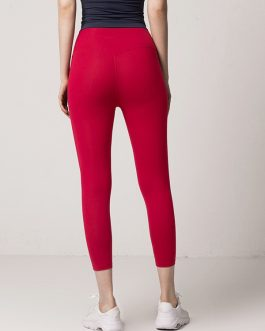 Solid High Waist Cropped Yoga Leggings