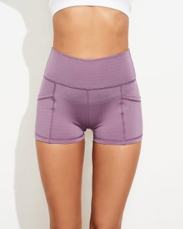 Sporty Solid Pockets Yoga Short Pants
