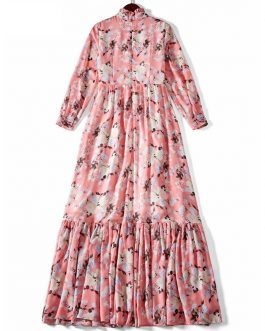 Stand Collar Flower Print Charming Party Maxi Dresses