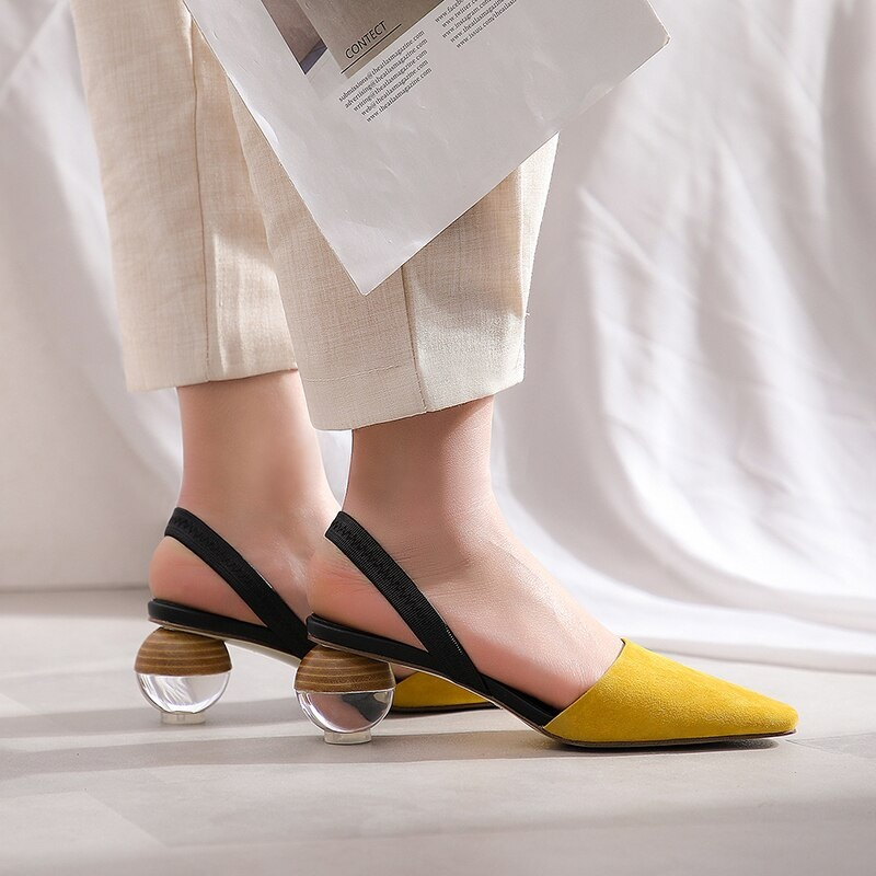 Strange Style Genuine Leather High Heels Sandals 9.1