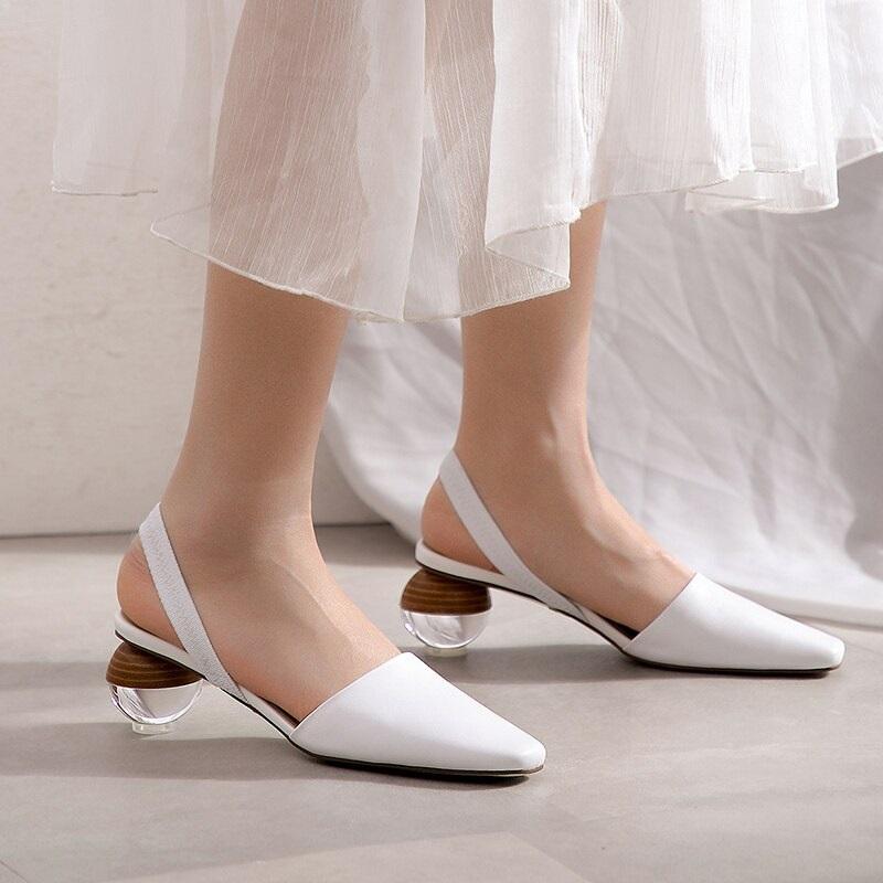 Strange Style Genuine Leather High Heels Sandals 9.3