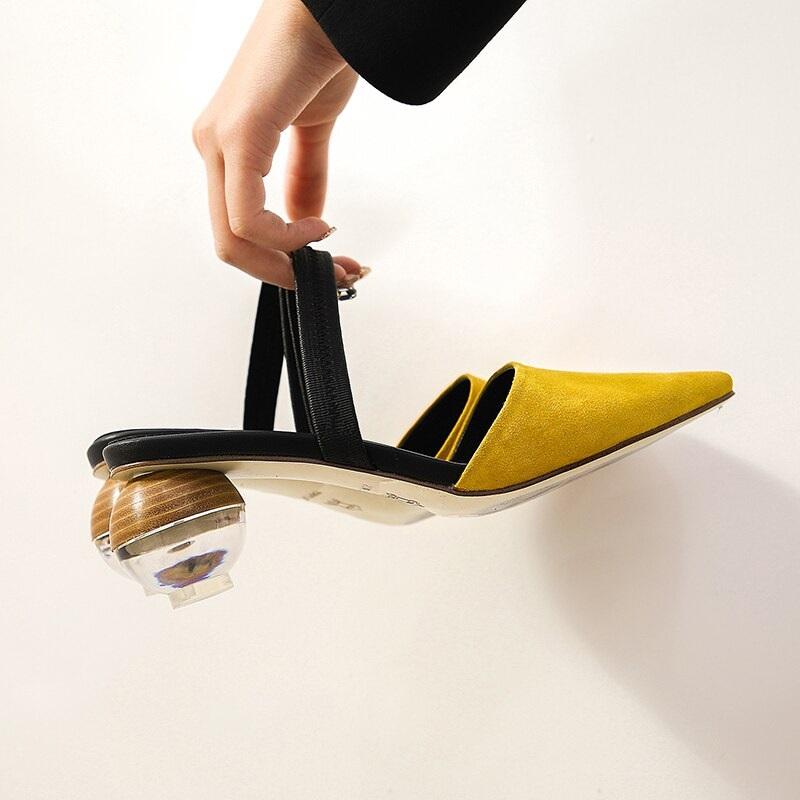 Strange Style Genuine Leather High Heels Sandals 9.6