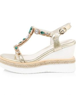 Straw Weave Crystal Heepskin Casual Wedges Sandals