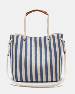 Striped Casual Canvas Handbag Crossbody Bag