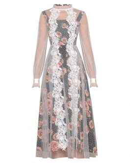 Transparent Long Sleeve Patchwork Print Embroidery Dresses