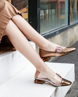 Transparent Pvc Buckle Low Heels Pumps Casual Sandals