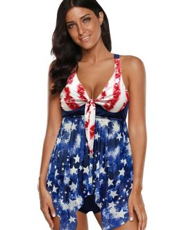 V Neck American Flag Printed Tankini