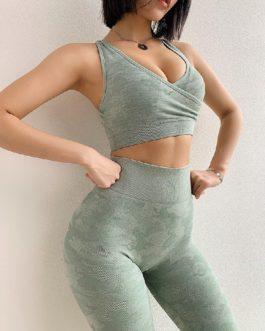 Vest Type Fitness Camo Sports Bras