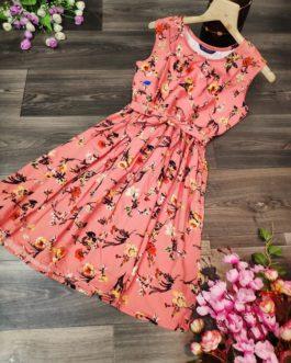 Vintage Floral Print Sleeveless Mini Dress
