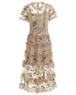 Vintage Flower Embroidery Midi Dress