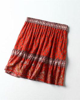 Vintage chic hippie floral printed tassel beach skirt