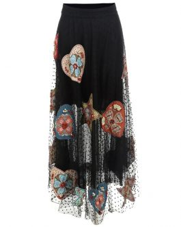 luxury Beaded Applique Flocking Dot Long Tulle Maxi Skirt