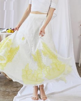 luxury Embroidery Applique High Waist Maxi Skirt