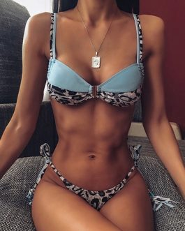 Animal Print Dual Design Two Piece Bikini Cut Swimsuit
