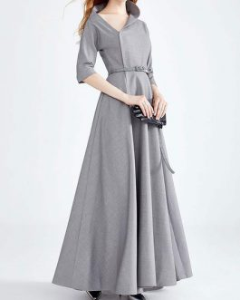 Asymmetrical Neckline Sleeved Belt Swing Maxi Dresses