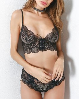 Bandage Floral Lace Bra And Panty Set