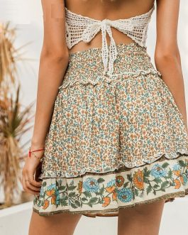 Bohemian Floral Print High Waist Short Skirts
