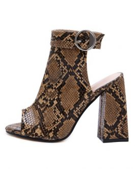 Boots Peep Toe Backless Snake Print Chunky Heel Booties
