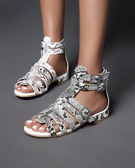 Buckle Strap Gladiator Chunky Heels