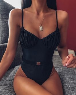 Bunched Cup Belt and Buckle One Piece Swimsuit