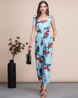 Casual Bohemian Cherry print Jumpsuit