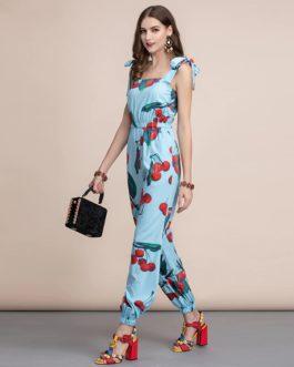 Casual Cherry print Elastic Waist long Jumpsuit