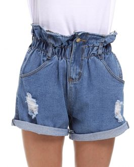 Casual Crimping Denim Holes Ripped Pockets Jeans Shorts