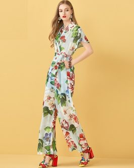 Casual Drawstring Floral Print Sexy Rompers