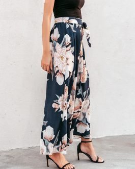 Casual Floral Print Wide Leg Pants