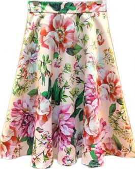 Casual Flower Print Ruffles Mini Skirts
