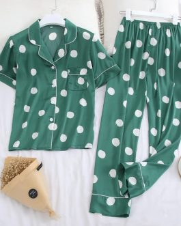 Casual Polka Dot Short Sleeve Sleepwear