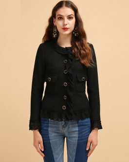 Casual Ruffled Lace Button Coats Tops