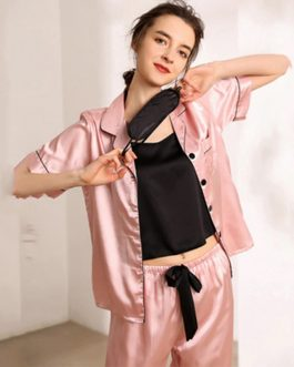 Casual Satin Soft Faux Silk Sleepwear Sets