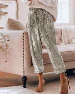 Casual Sequine High Waist Harem Pants