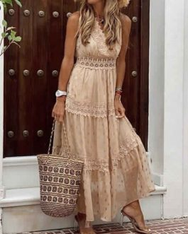 Chiffon Maxi Dresses V Neck Sleeveless Polka Dot Floor Length Dress
