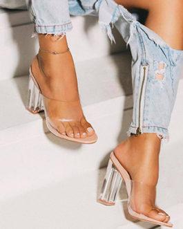 Clear Acrylic Chunky Heel Sandal – Clear Vinyl Strap