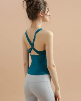 Cross Belt Backless Fitted Yoga Camisole