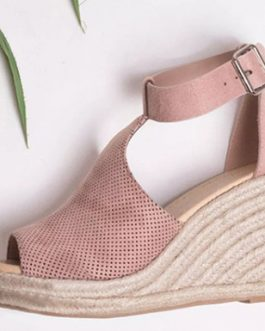 Curvy T-Strap Wedge Sandal – Moderate Heel Height
