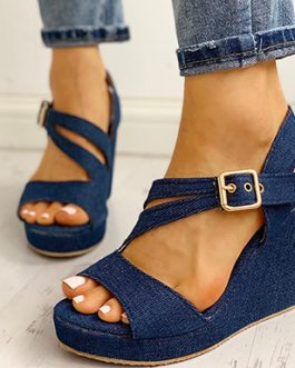 Denim Wedges – Gold Buckles