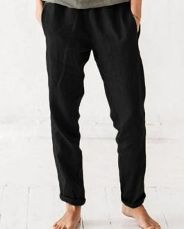 Elastic Waist Pure Color Side Pockets Harlan Pants