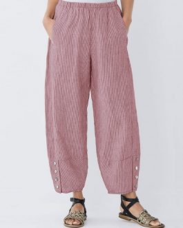 Elastic Waist Striped Wide Legged Casual Loose Pants
